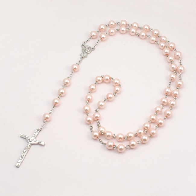 Pale Pink Pearl Rosary Beads Heavens Blessings